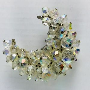 Vintage crystal bead crescent moon brooch